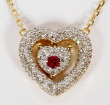 0.60CT DIAMOND AND RUBY HEART NECKLACE