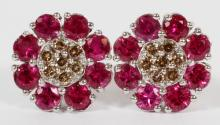 NATURAL RUBY AND FANCY DIAMOND CLUSTER EARRINGS