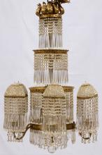 CRYSTAL AND D'ORE BRONZE CHANDELIER