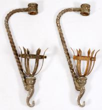 PAIR OF WROUGHT IRON TORCHES FROM