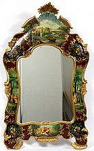 ROCOCO-STYLE PAINTED AND GILT WOOD MIRROR