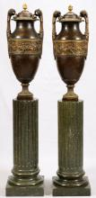 SIOT DEAUVILLE FOUNDRY BRONZE URNS PAIR