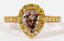 1.04CT PEAR DIAMOND AND 18KT ROSE GOLD RING