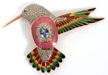 ART DECO PIN/BROOCH HUMMING BIRD W/ ENAMEL GOLD