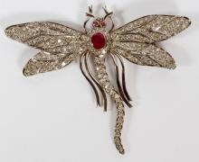ART DECO DRAGONFLY PIN/BROOCH 18K WHITE GOLD