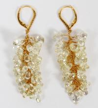 BRIOLETTE CUT DIAMOND AND GOLD DANGLE EARRINGS PAIR