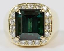 11.59CT BLUE GREEN TOURMALINE AND 2CT DIAMOND RING