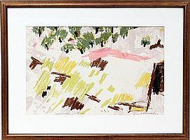 "EMIL WEDDIGE [1907-01], COLOR LITHOGRAPH, #21/40, 13"" X 20"", 'LANDSCAPE VALENCIA'"