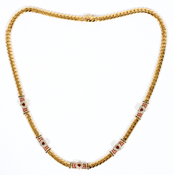NATURAL RUBY, SAPPHIRE, DIAMOND & GOLD NECKLACE