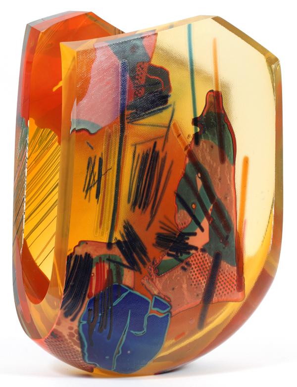 JOEL PHILIP MYERS MULTI COLOR GLASS SCULPTURE