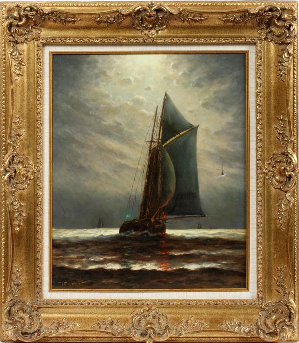 JAMES G. TYLER OIL ON CANVAS SAILING SHIP