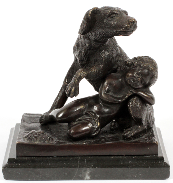 BRONZE SCULPTURE HUNTING DOG & SLEEPING CHILD