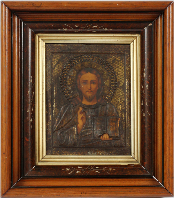 RUSSIAN ICON OIL ON WOOD WITH SILVER AND VERMAIS
