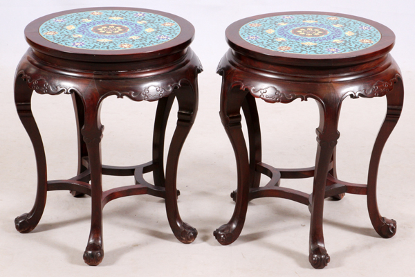 CHINESE CARVED WOOD & CLOISONNE SIDE TABLES, PAIR