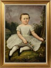 AMERICAN OIL ON CANVAS PRIMITIVE PORTRAIT OF CHILD
