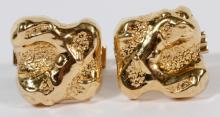14KT YELLOW GOLD MEN'S CAST NUGGET CUFFLINKS PAIR