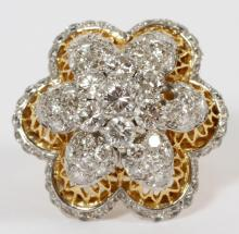DIAMOND & PLATINUM YELLOW GOLD LADIES COCKTAIL RING