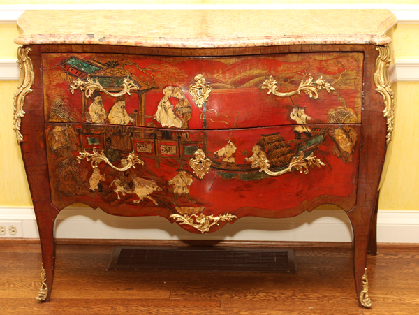 Louis Xv Style Chinoiserie Marble Top Commode