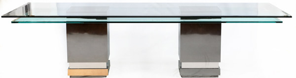 MODERN LAYERED GLASS TOP DINING TABLE