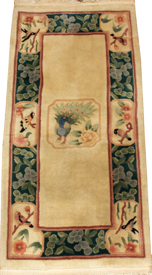 CHINESE SCULPTED WOOL MAT, W 2' 5