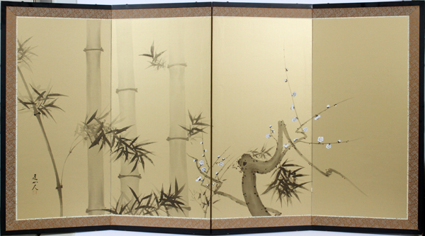 CHINESE PAINTED SILK FOLDING SCREEN, H 36