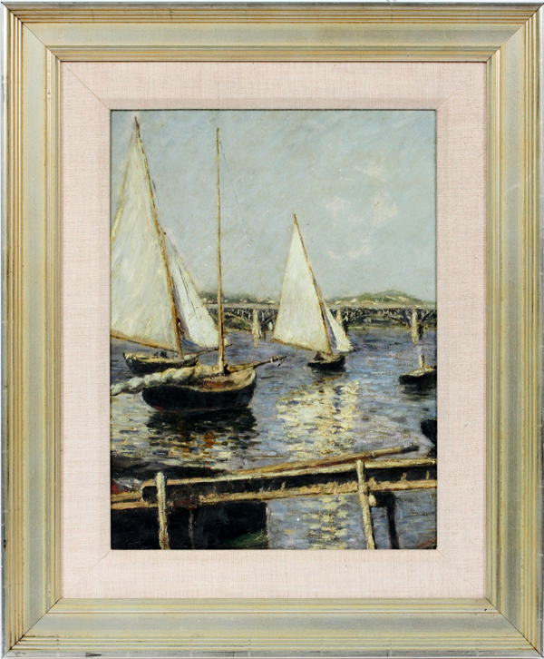 UNSIGNED PRINT, H 16'', W 12'', SAILBOATS IN PORT