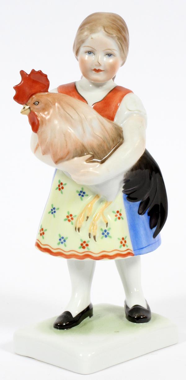 HEREND PORCELAIN FIGURE FARM GIRL HOLDING ROOSTER