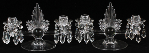 ART DECO STYLE MOLDED GLASS TWO LIGHT CANDELABRA
