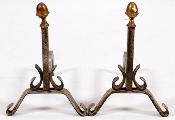 HAND WROUGHT IRON ANDIRONS, (BRASS FINIALS), PAIR