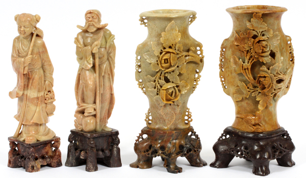 CHINESE CARVED SOAPSTONE SCULPTURES, FOUR H 8