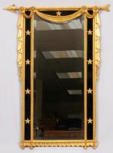 FEDERAL STYLE GILT WOOD & BEVEL GLASS WALL MIRROR