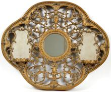 DECORATIVE MIRROR W/ CURIO SHELVES