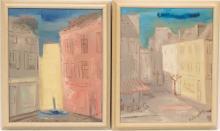 """EMIL WEDDIGE (MICHIGAN, 1907-2001) OIL ON CANVAS, 2 PCS, H 10.5"""", W 9"""", STREET SCENES"""