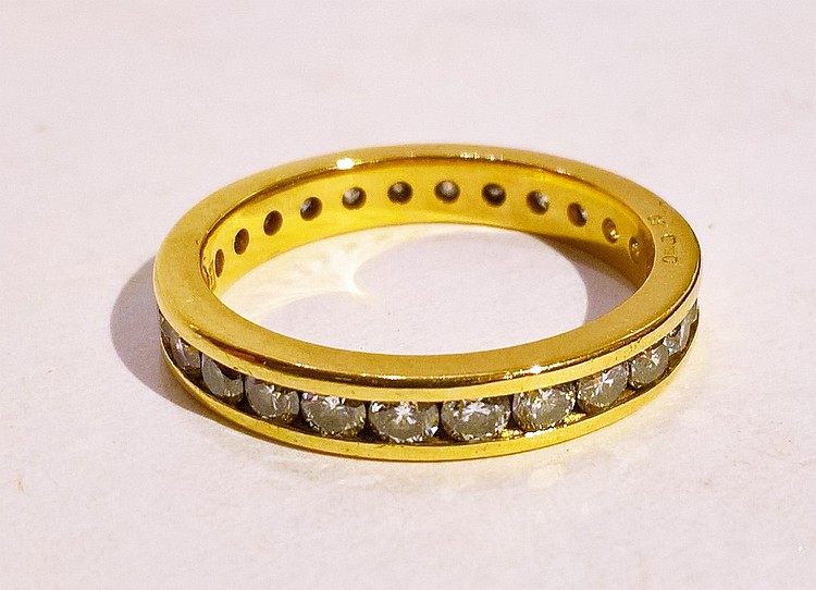 18ct Gold (Hallmarked) Diamond Full Eternity Ring,