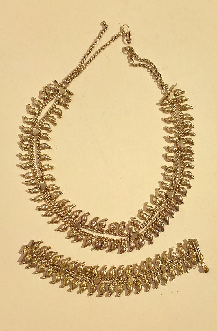 Indian Silver Metal Bracelet and Choker, 88 grams