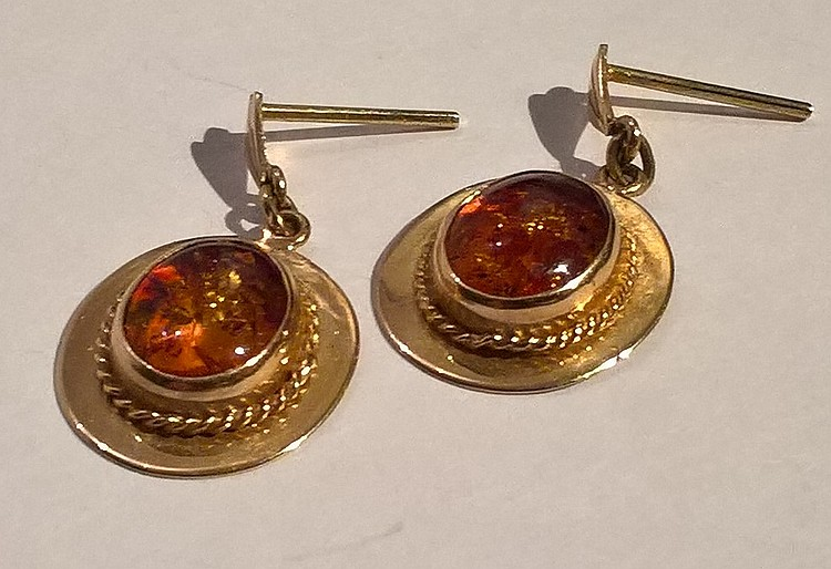 Pair 9ct Gold (untested) set Amber Earrings