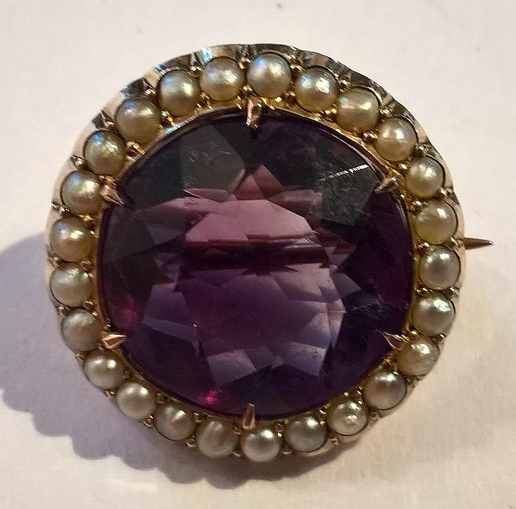Edwardian Brooch Set Amethyst & Seed Pearls in a G