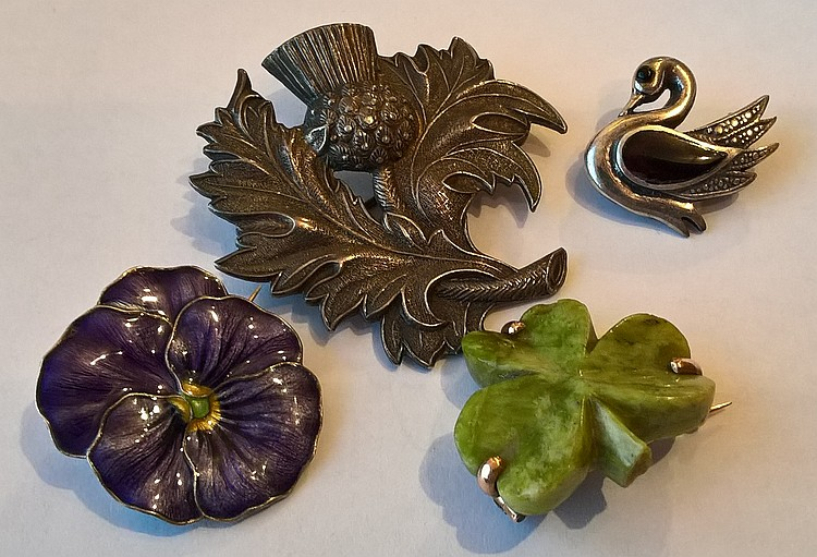 Four Edwardian Brooches, one silver hallmarked 192
