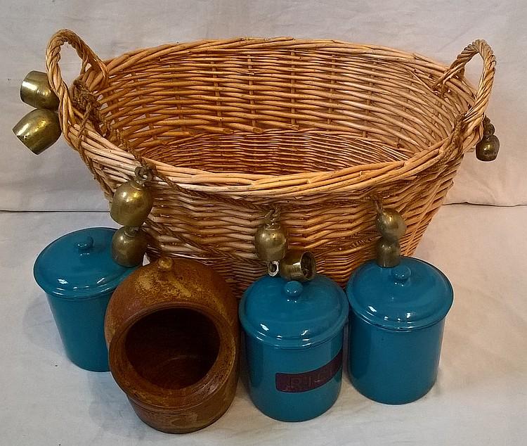 Two sets of Reindeer Bells in a Wicker Basket incl