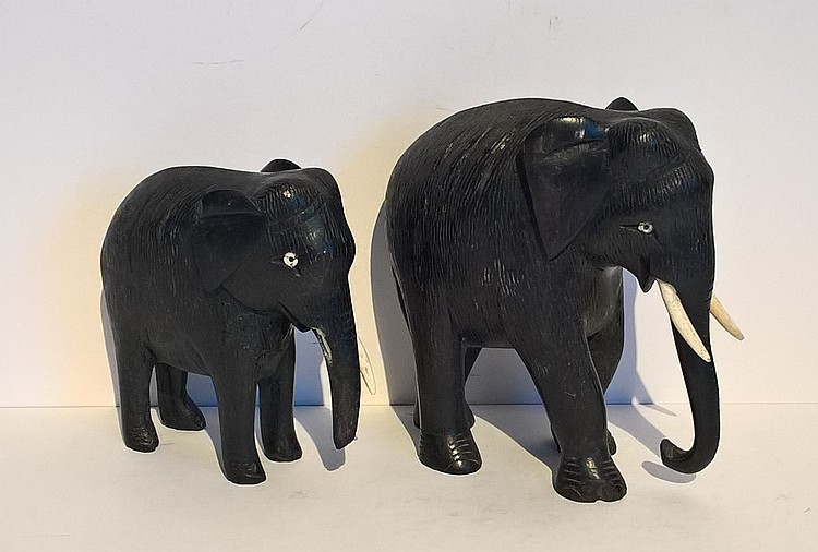 Two Hand Carved Ebony Elephants, one a/f