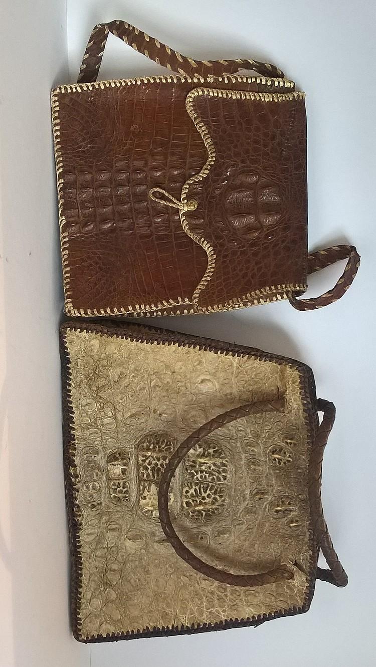 Two Vintage Hornback Crocodile Handbags, one off-w