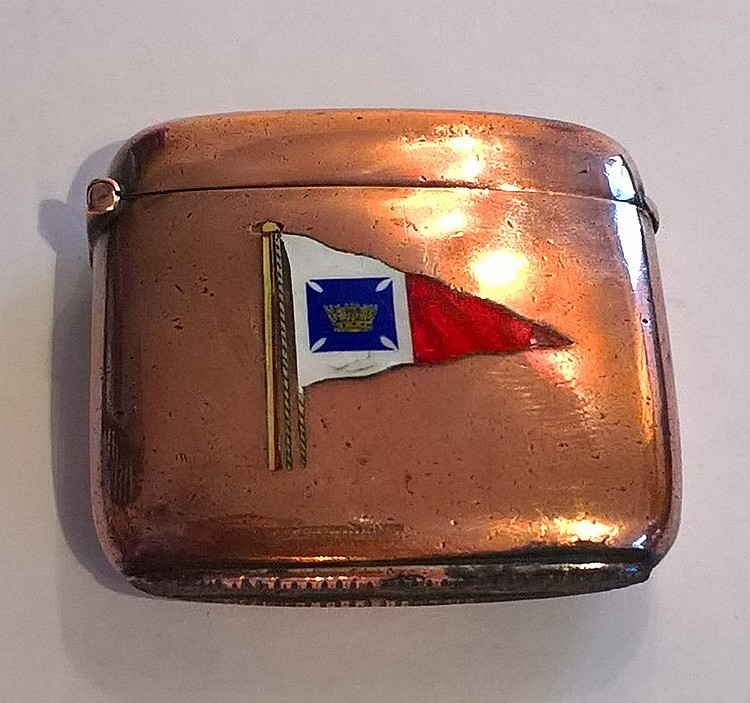 Edwardian Copper Vesta Case, enamel Royal Yacht Cl