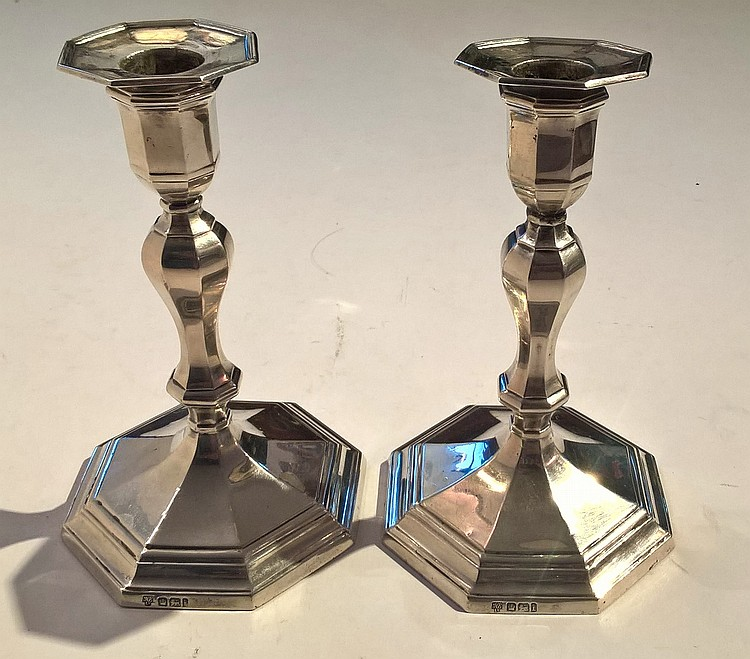 Pair Edwardian Candlesticks (weighted) on octagona
