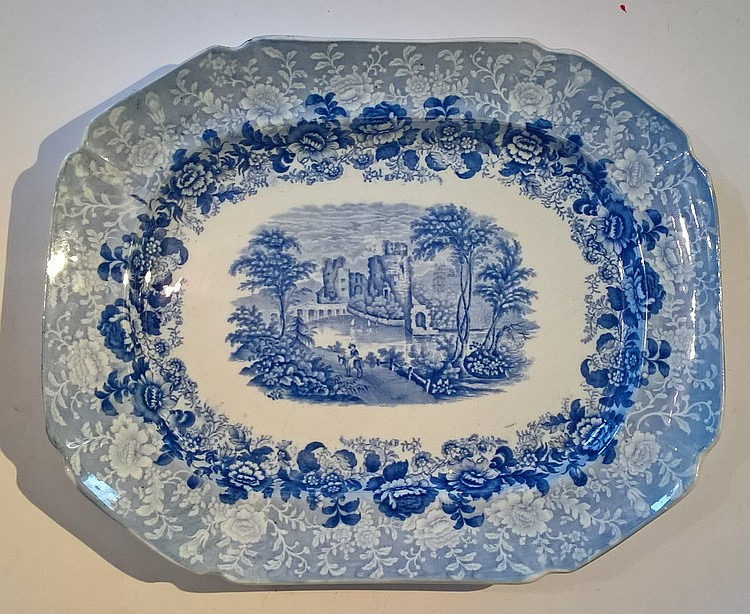 19TH CENTURY STAFFORDSHIRE PLATTER. Blue and white