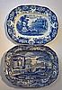Two Large Victorian Blue & White Meat Platters, bo