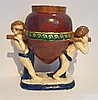 Large Early Pottery Vase Two Cupids with Vessel, M