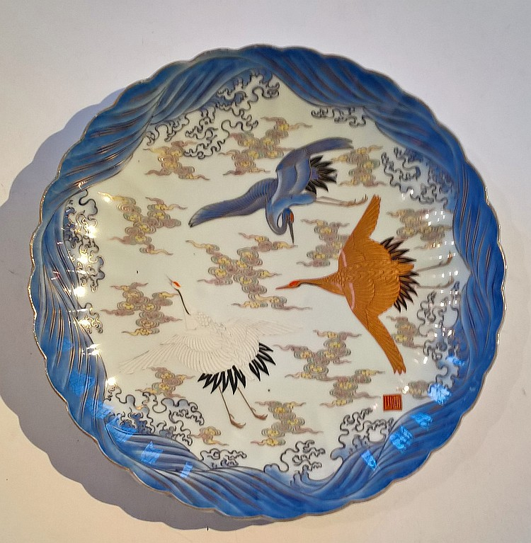 A Japanese Fukagawa Dish, decorated with cranes in