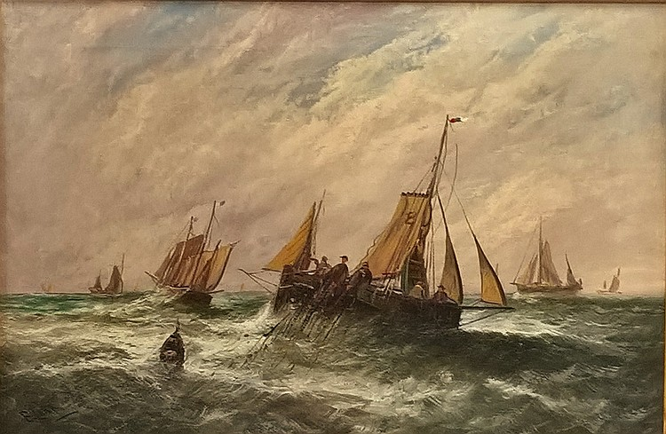E LARA, Oil on Canvas, a seascape fishing scene, f