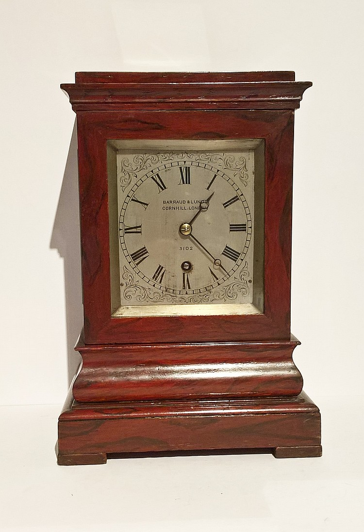 Victorian Rosewood Barraud & Lunds Table Clock, ci