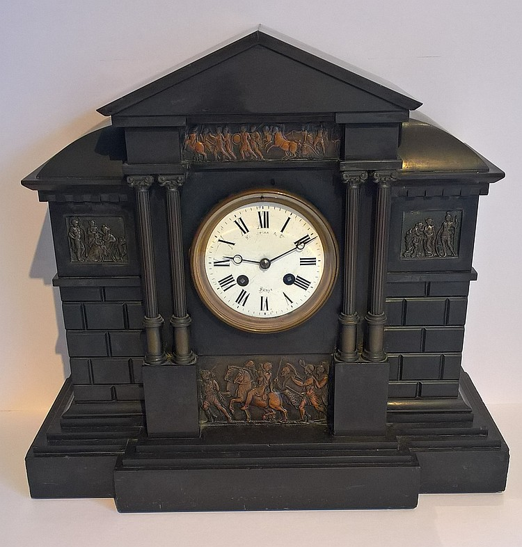 19th Century Chiming French Slate Mantle Clock, ca
